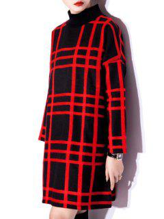 Checked Stand Collar Long Sleeve Wool Dress - Red