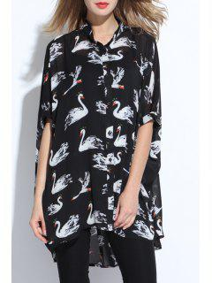 Swan Print Stand Collar Short Sleeve Chiffon Shirt - Black 2xl