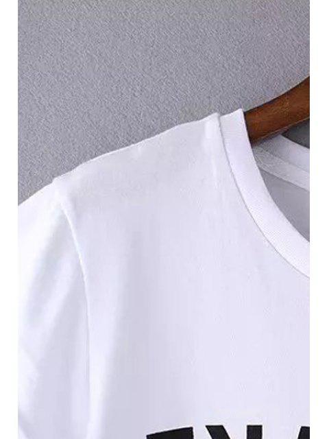 fancy Round Neck Letter Print T-Shirt - BLACK S Mobile