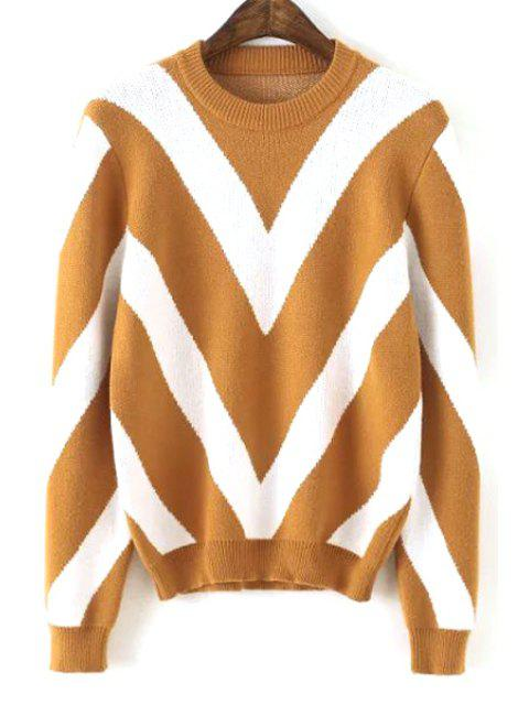 women Long Sleeve Wavy Stripe Sweater - KHAKI ONE SIZE(FIT SIZE XS TO M) Mobile