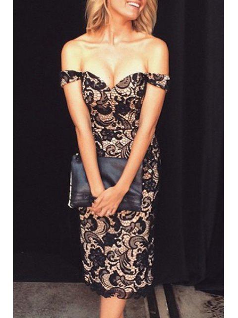 Schulterfreies enges Kleid mit Spitzeneinsatz - Schwarz M Mobile