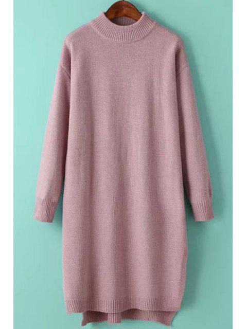 new Solid Color Side Slit High Low Hem Sweater Dress - PINK ONE SIZE(FIT SIZE XS TO M) Mobile