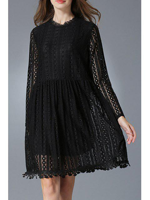 womens Lace Round Neck Long Sleeve Dress - BLACK 2XL Mobile