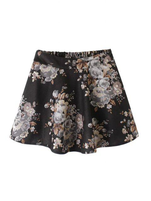 ladies Floral Print Elastic Waist Mini Skirt - BLACK L Mobile