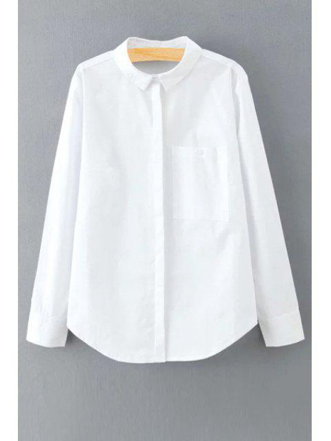 fancy Solid Color Long Sleeve Shirt Collar Shirt - WHITE M Mobile