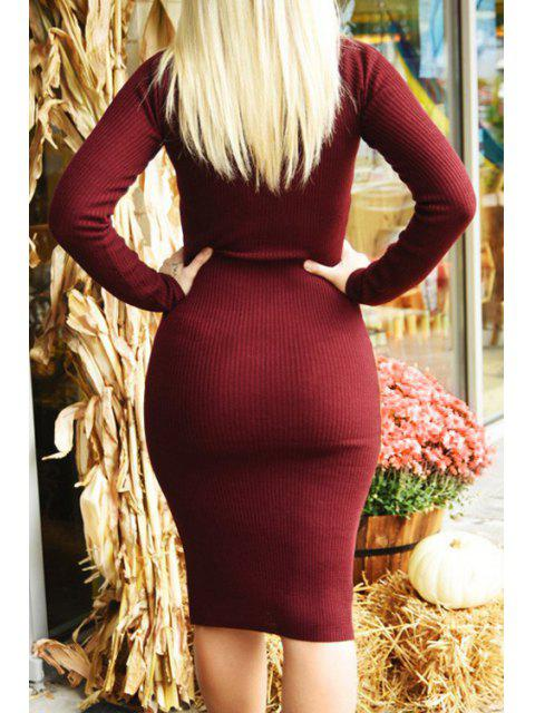 best V-Neck Wine Red Sweater Dress - WINE RED M Mobile