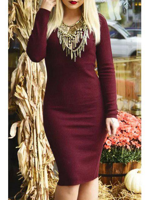 online V-Neck Wine Red Sweater Dress - WINE RED L Mobile