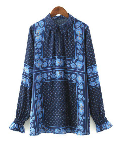 lady Ruffle Sleeve Tiny Floral Print Shirt - BLUE M Mobile