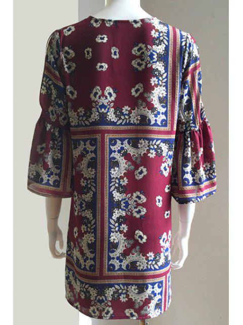 fashion Cut Out Printed Bell Sleeve Lace Up Dress - COLORMIX M Mobile