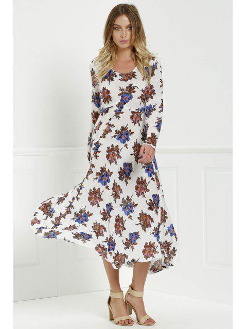 women's Long Sleeve Floral Print Side Slit Maxi Dress - WHITE XL Mobile