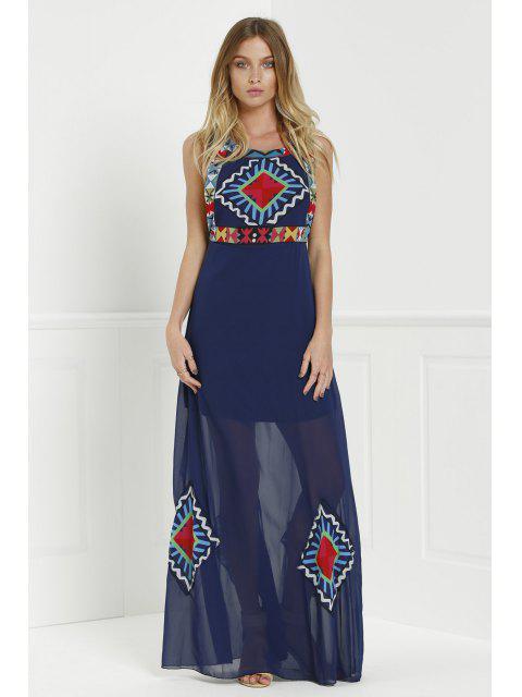 Robe sans manche à col rond à style de Bohême à longueur Maxi imprimée de carreaux colorés floraux - Bleu Violet M Mobile