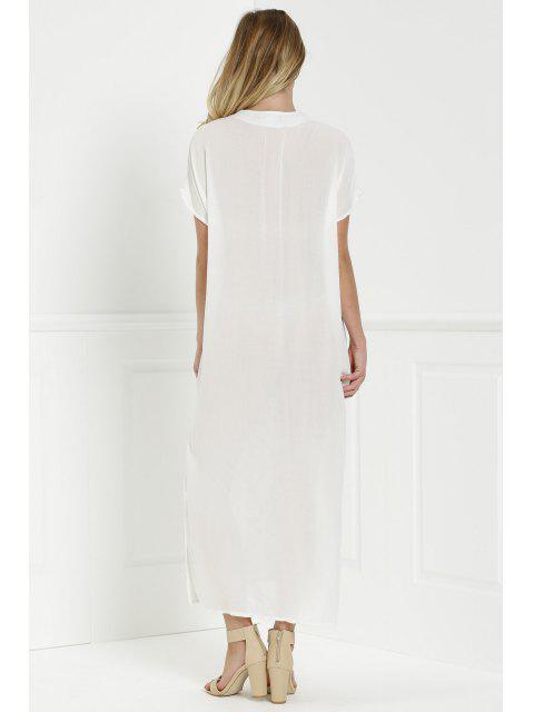 shops Bohemian Side Slit Embroidered Maxi Dress - WHITE M Mobile