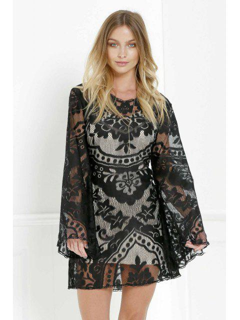 hot Black Lace Long Sleeve with Cami Dress Twinset - BLACK XL Mobile