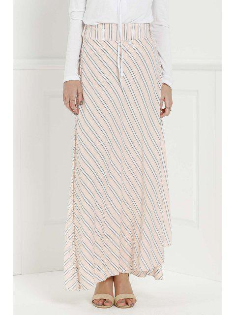 shop Striped Pink High Waisted Skirt - PINK L Mobile