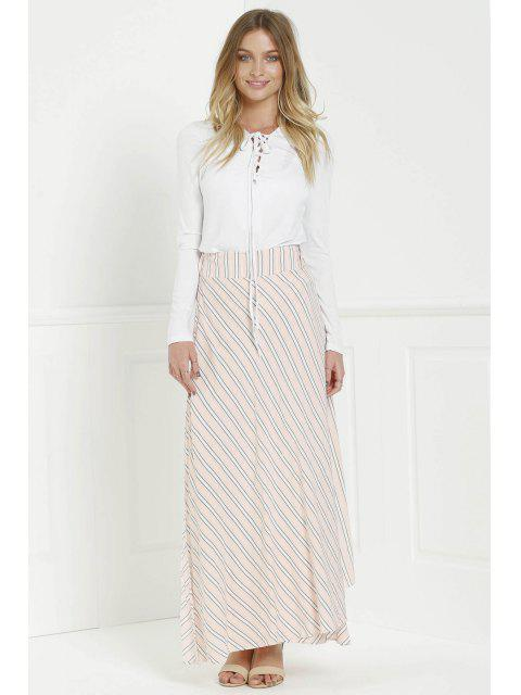 outfit Striped Pink High Waisted Skirt - PINK S Mobile