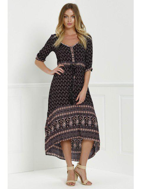 hot Ethnic Print V Neck 3/4 Sleeve Maxi Dress - COFFEE M Mobile