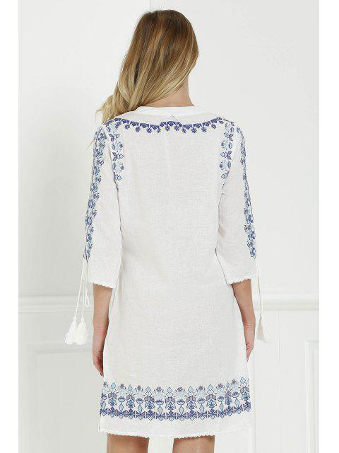 fashion Floral Embroidery Plunging Neck 3/4 Sleeve Dress - WHITE M Mobile