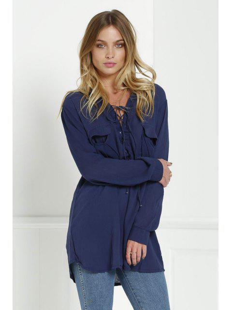 Blouse décolletée à croisillons avec manches longues pour femmes - Bleu Cadette S Mobile
