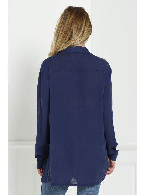 hot Loose V Neck Long Sleeve Blouse - CADETBLUE S Mobile