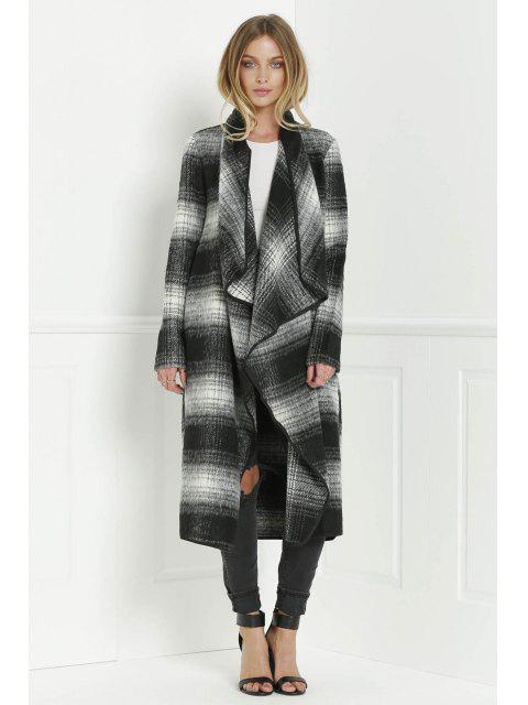 best Tartan Stand Collar Long Sleeves Long Coat - BLACK AND GREY L Mobile