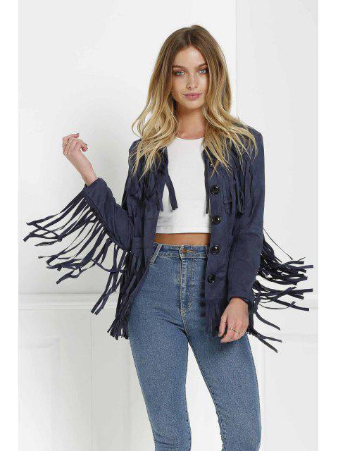 shop Tassels Spliced Suede Jacket - PURPLISH BLUE L Mobile