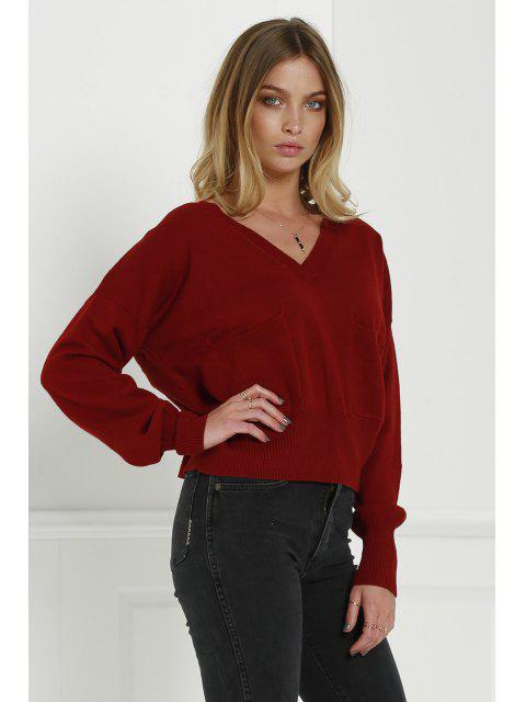 shops V-Neck Two Pockets Crop Sweater - CLARET L Mobile