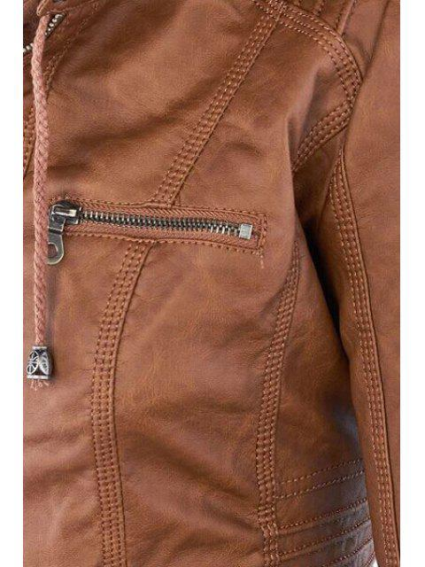 sale Solid Color PU Leather Convertible Collar Jacket - LIGHT BROWN L Mobile