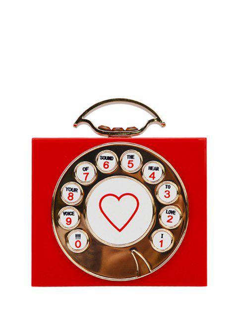 unique Telephone Shape Heart Print Evening Bag - RED  Mobile