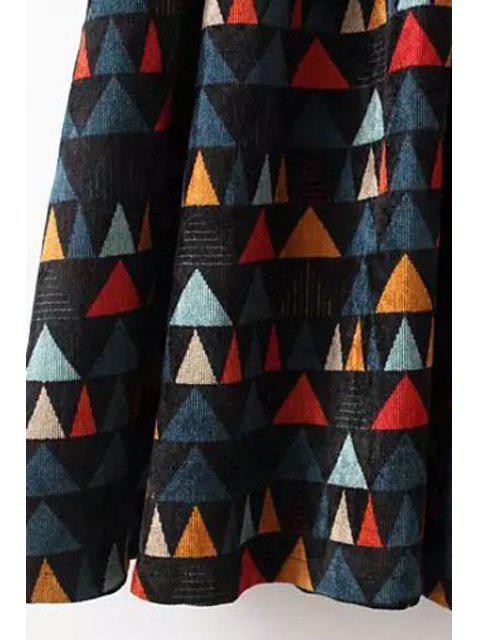 fashion Colorful Triangle Print Corduroy Dress - COLORMIX M Mobile