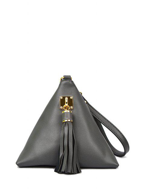 buy Solid Color Triangle Shape Tassel Clutch Bag -   Mobile