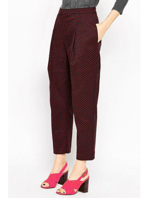 women's Jacquard Wine Red Cropped Pants - WINE RED XS Mobile