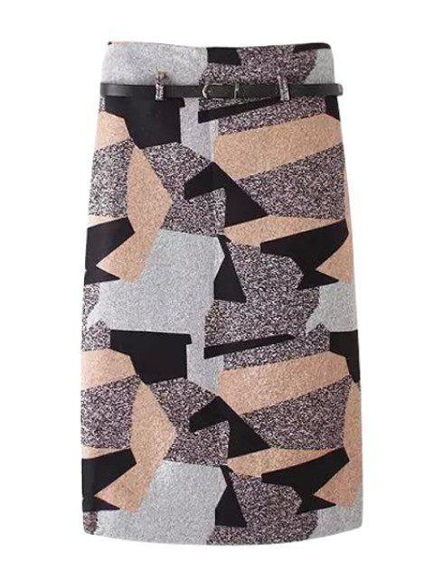 ladies Woolen Geometric Pattern Pencil Skirt - COLORMIX M Mobile