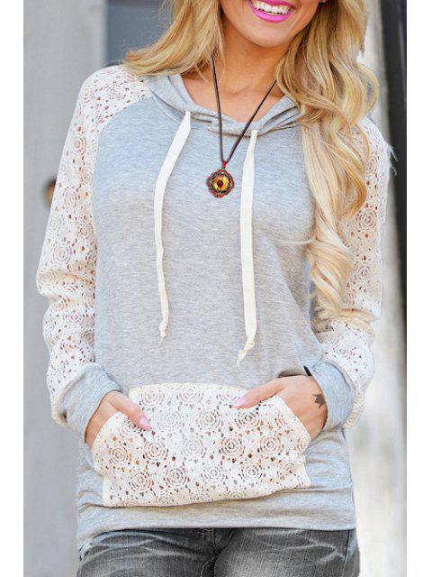 trendy Cutout Front Pocket Pullover Hoodie - WHITE L Mobile