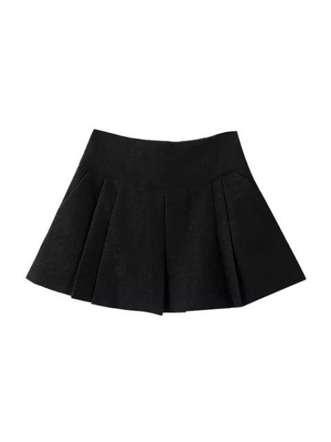 shop Wool Solid Color Pleated Mini Skirt - BLACK S Mobile
