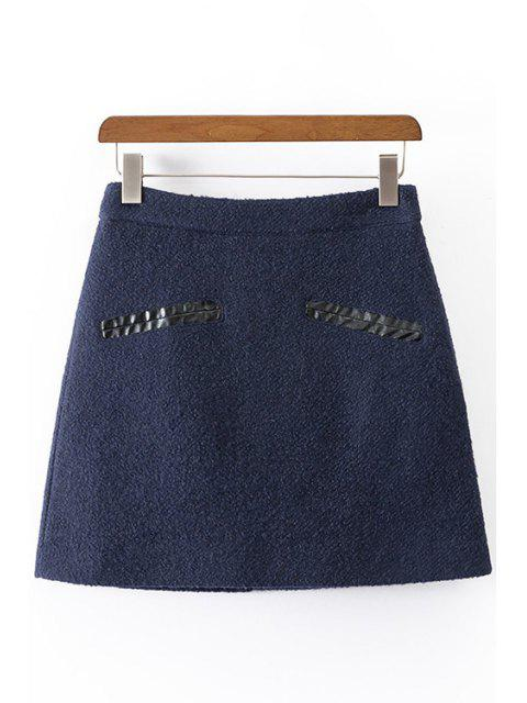 new Solid Color Worsted High Waisted Skirt - CADETBLUE L Mobile