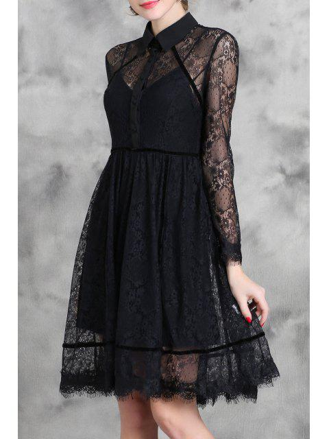 trendy Black Turn Down Collar Long Sleeve Lace Dress - BLACK M Mobile