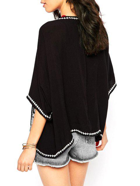 buy Retro Embroidery Batwing Sleeve Cape Blouse - BLACK M Mobile