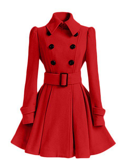 new Solid Color Belted Turn-Down Collar Wool Dress Coat - RED L Mobile