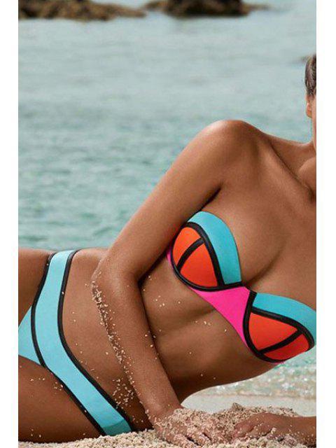 Juego de bikini sin tirantes de color - Azul L Mobile