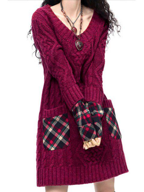 best Hooded Cable Knit Pocket Sweater Dress - PURPLE ONE SIZE(FIT SIZE XS TO M) Mobile