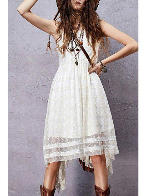 women's Sleeveless Embroidered Irregular Hem Dress - WHITE L Mobile