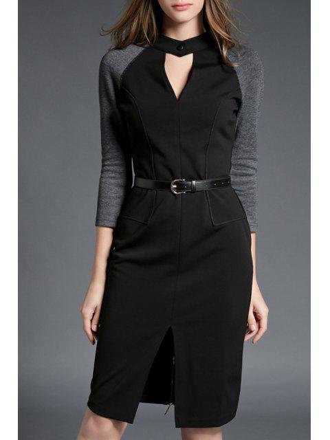 shops Front Slit Stand Neck Cut Out Color Block Dress - BLACK XL Mobile