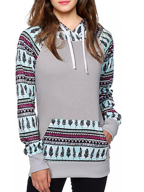ladies Feather Print Front Pocket Sherpa Hoodie - GRAY XL Mobile