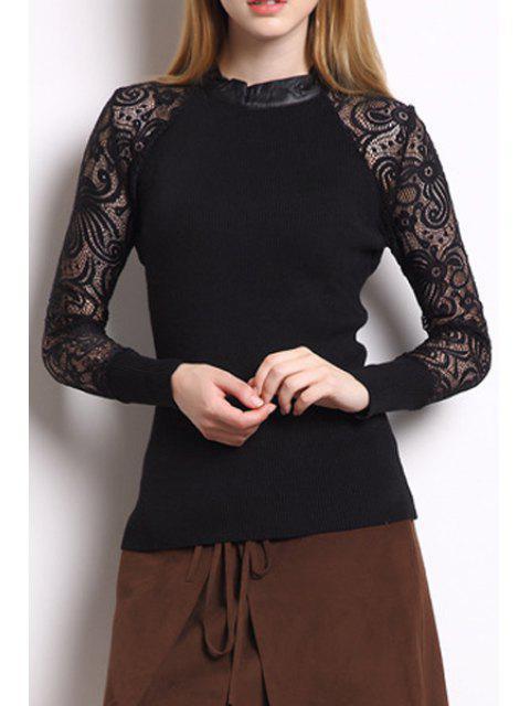 affordable Long Sheer Sleeve Black T-Shirt - BLACK M Mobile