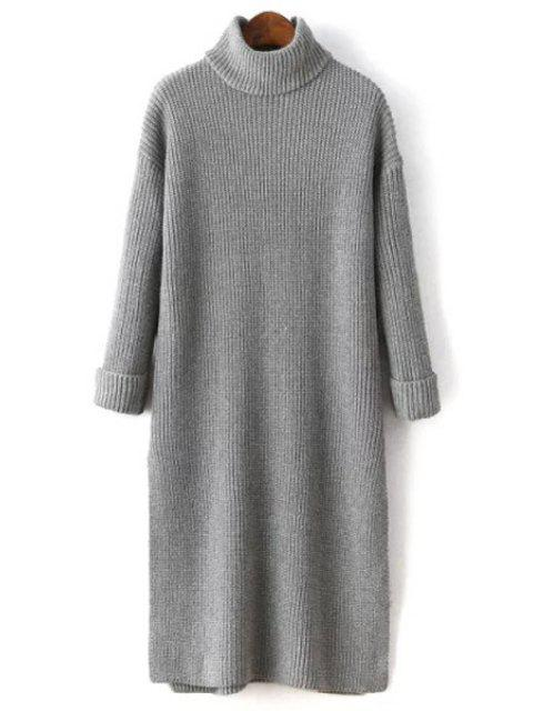 latest Side Slit Turtle Neck Solid Color Sweater Dress - GRAY ONE SIZE(FIT SIZE XS TO M) Mobile