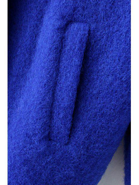 buy Pockets Pure Color Lapel Collar Wool Coat - SAPPHIRE BLUE M Mobile