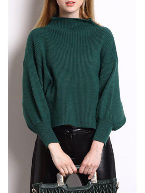 affordable High Collar Puff Sleeve Loose Sweater - GREEN ONE SIZE(FIT SIZE XS TO M) Mobile