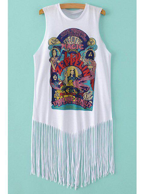 trendy Figure Print Round Neck Sleeveless T-Shirt - WHITE S Mobile