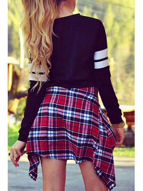ladies Letter Round Neck Long Sleeve Sweatshirt - BLACK M Mobile
