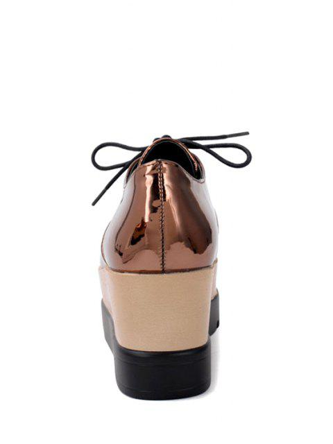 fancy Patent Leather Solid Color Platform Shoes - BROWN 35 Mobile